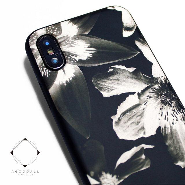 iphoneXケース / iphoneXsケース レザーケースカバー(花柄×ブラック)ブラックフラワー X / Xsの画像1枚目