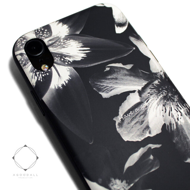 iphoneXRケース / iphoneXRカバー レザーケースカバー(花柄×ブラック)ブラックフラワー / XRの画像1枚目