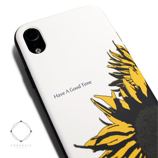 iphoneXRケース / iphoneXRカバー レザーケースカバー(オフホワイト)ひまわり 向日葵 / XRの画像1枚目