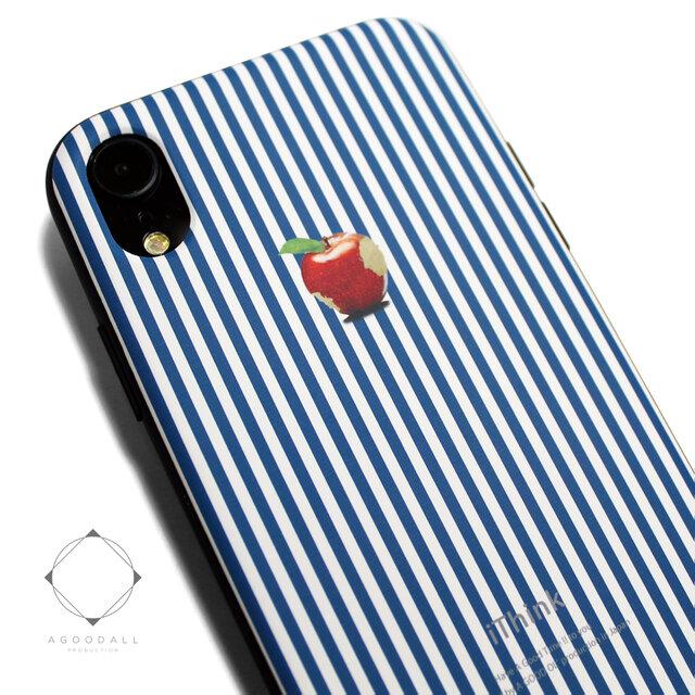 iphoneXRケース / iphoneXRカバー レザーケースカバー(ロンドンストライプ)赤リンゴ / XRの画像1枚目