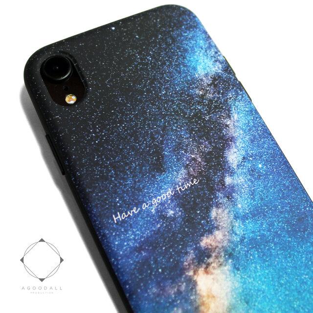 iphoneXRケース / iphoneXRカバー レザーケースカバー(天の川×ブラック)夜空 星柄 / XRの画像1枚目
