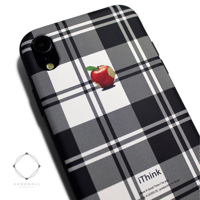 iphoneXRケース / iphoneXRカバー レザーケースカバー(タータンチェック)赤リンゴ / XRの画像1枚目