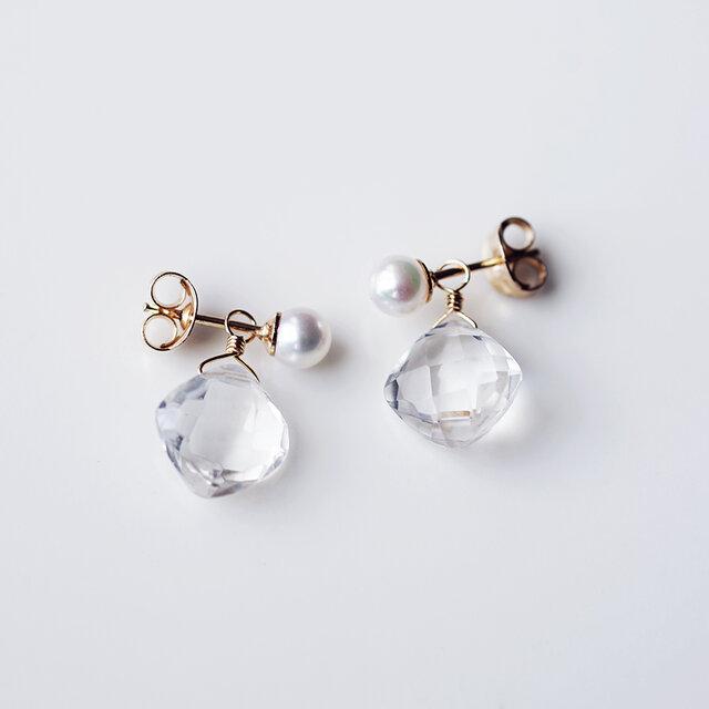 2Way★真珠とクリスタルのジュエルピアス ~Ice milkの画像1枚目