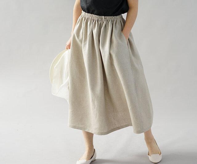 【wafu】中厚 リネン スカート ふんわり膝下丈 ウエスゴム ベルト紐付 ゆったり / 亜麻ナチュラル s004b-amn2の画像1枚目