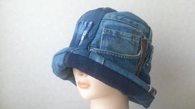 魅せる帽子☆【受注製作】ジーンズのリメイククロッシュ5の画像1枚目