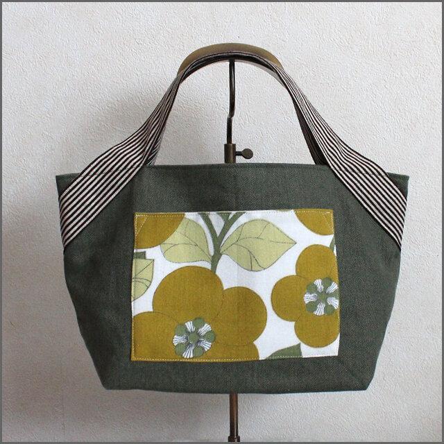 ヴィンテージクロスポケット お散歩バッグ『緑のお花』の画像1枚目