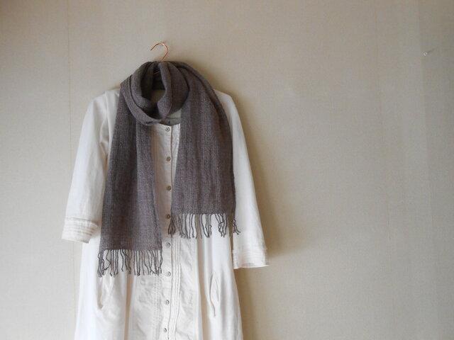 あったかマフラー 手紡ぎ手織り メリノーウール グレー×紫の画像1枚目