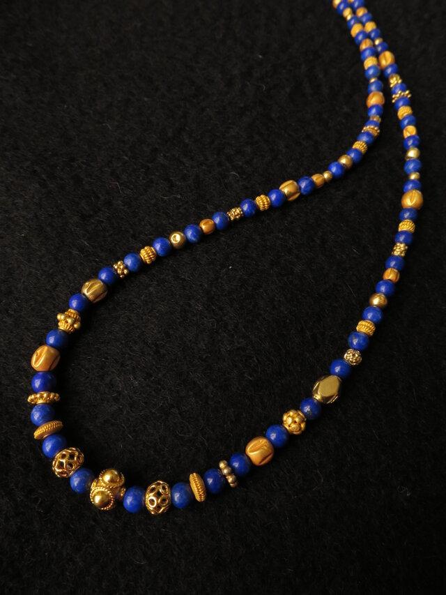 K18 Lapis lazuli・Gold beads Necklace 2の画像1枚目