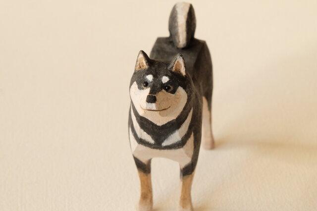 柴犬(黒) 胡桃材着色 201901の画像1枚目