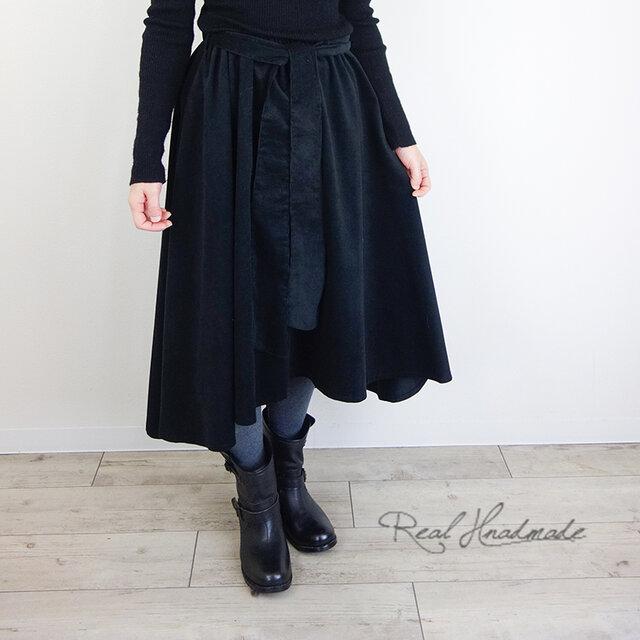 [予約販売]シャツコールブラックヘム変形スカートの画像1枚目