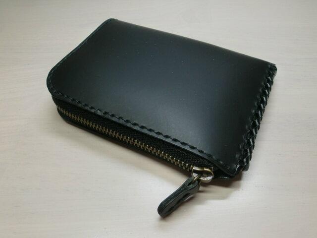 『Bスタイル』オールブラック・クロムレザー・L字ファスナーコインケース・0424の画像1枚目