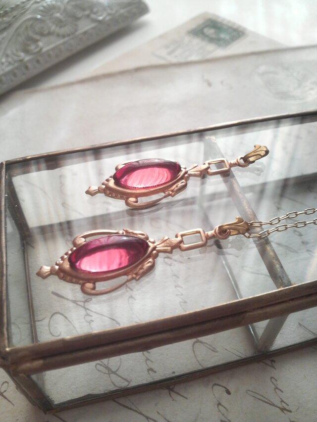 ヴィンテージ Rose-pink(15×7ミリ)Victorian ネックレスの画像1枚目