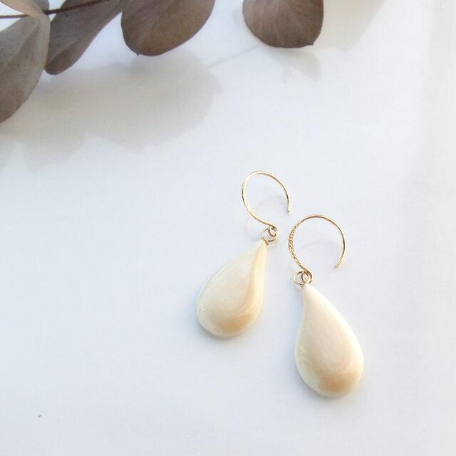 k18✼Makkoh pierced earrings 92018の画像1枚目