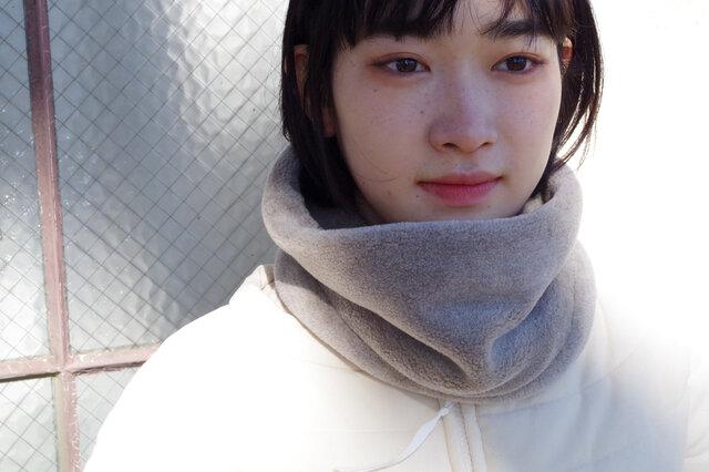 Organic Cotton Fur ヤク混グレージュ ネックウォーマー【ミドルサイズ】の画像1枚目