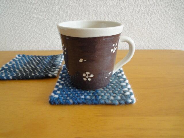 手織り コースター2枚set ・ネイビー系の画像1枚目