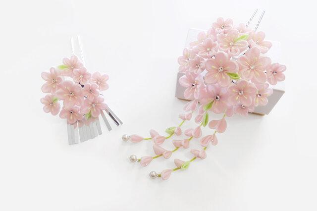 つまみ細工かんざしセット / 小桜の画像1枚目
