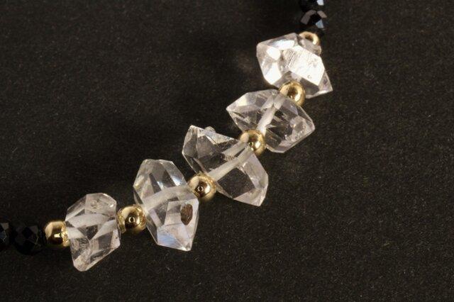 ハーキマーダイヤモンド & ブラックスピネル ネックレスの画像1枚目