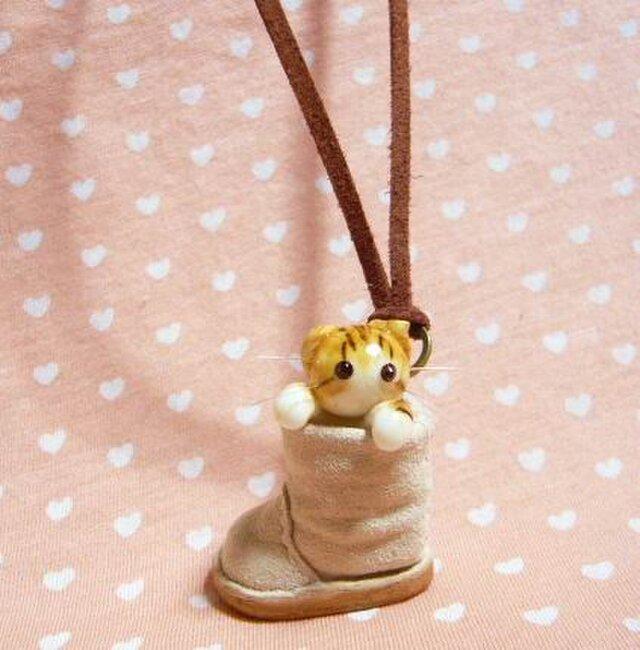 にゃんこのしっぽ〇くしゅっとブーツのネックレス〇スコティッシュ猫の画像1枚目