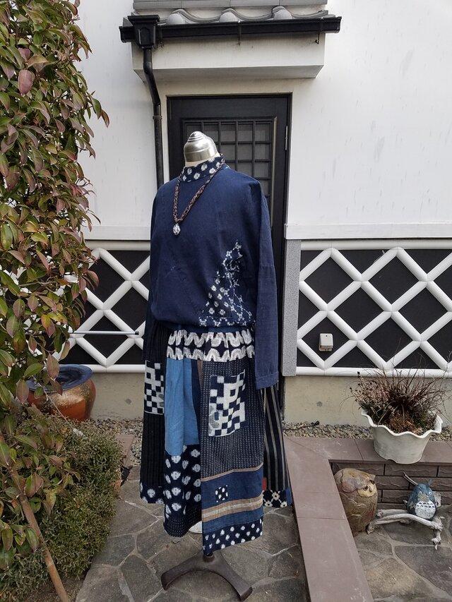 着物リメイク 手作り 雪ん子、縞、刺し子など パッチ ギャザースカートの画像1枚目