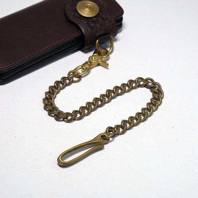 真鍮(ブラス)ウォレットチェーン:バレル加工済み 3.5mm 面取り 喜平(キヘイ)チェーンの画像1枚目