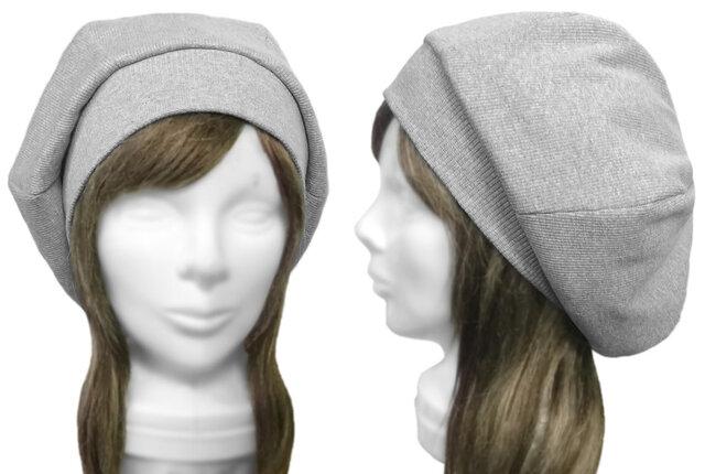 リブ織コットンニット/リブ付ベレー帽(ゆったり)◆杢ライトグレーの画像1枚目