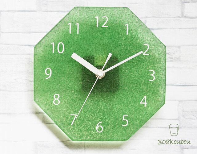八角掛け時計 ダークパステルグリーンの画像1枚目
