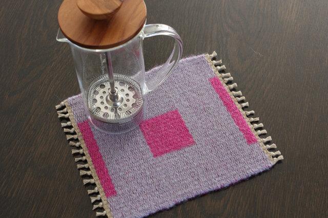 手織り リバーシブルのポットマット(ウール) No.8の画像1枚目
