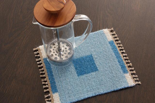 手織り リバーシブルのポットマット(ウール) No.9の画像1枚目