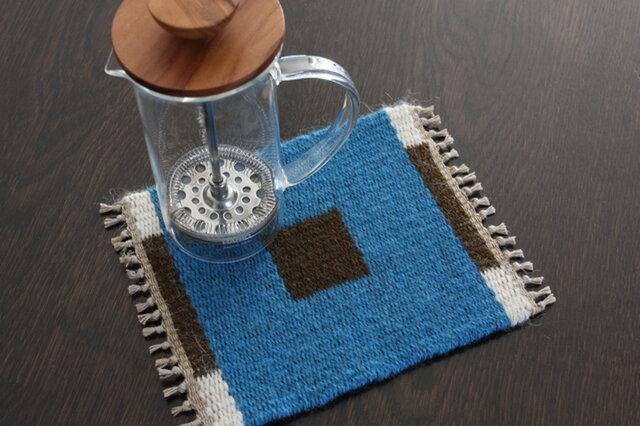 手織り リバーシブルのポットマット(ウール) No.11の画像1枚目