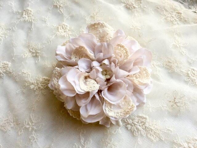 【ホワイト】コットンレースのメリアコサージュ&髪飾りの画像1枚目
