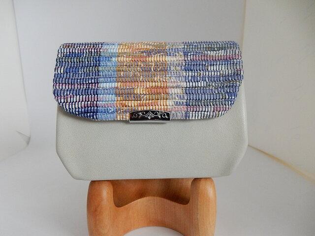 裂き織と革の折型財布(アイボリー) Lの画像1枚目