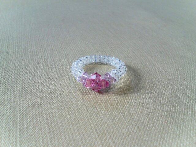 クリスタル Losange Ring/ローズとアメジストの画像1枚目