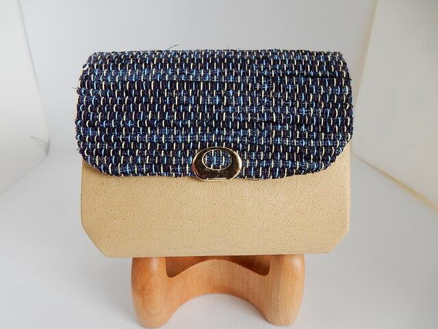 裂き織と革の折型財布(イエロー) Lの画像1枚目