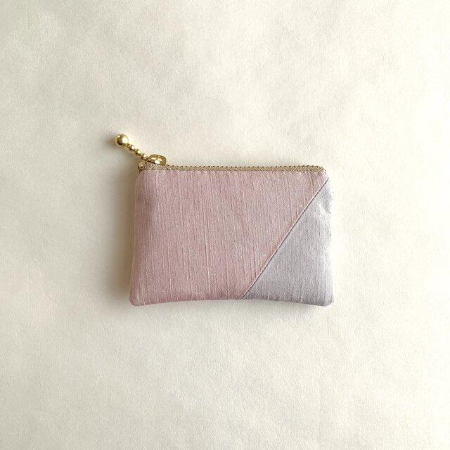 絹ミニポーチ (紬継・ピンクグレー/ライトグレー)の画像1枚目
