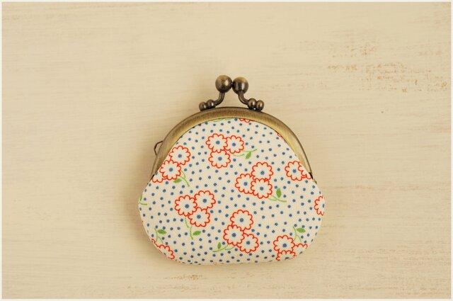 ■丸型がま口コインケース / トリコロール小花■の画像1枚目
