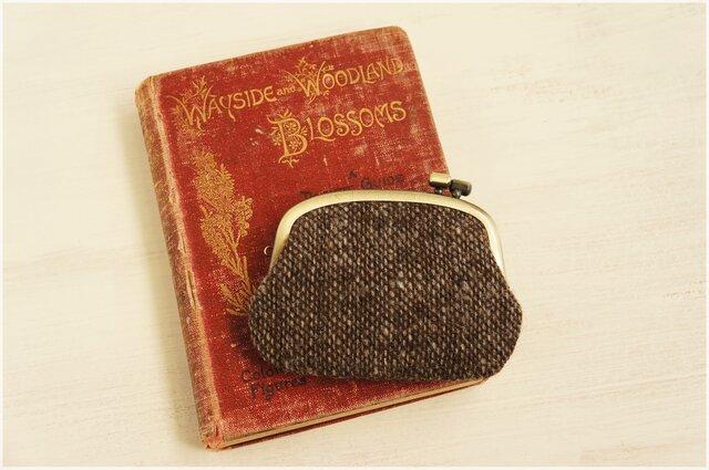 ■横ひねりのがま口コインケース / 手紡ぎ、手織りウール o■の画像1枚目