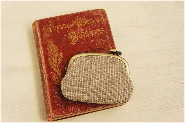 ■横ひねりのがま口コインケース / 手紡ぎ、手織りシルク・リネン s■の画像1枚目