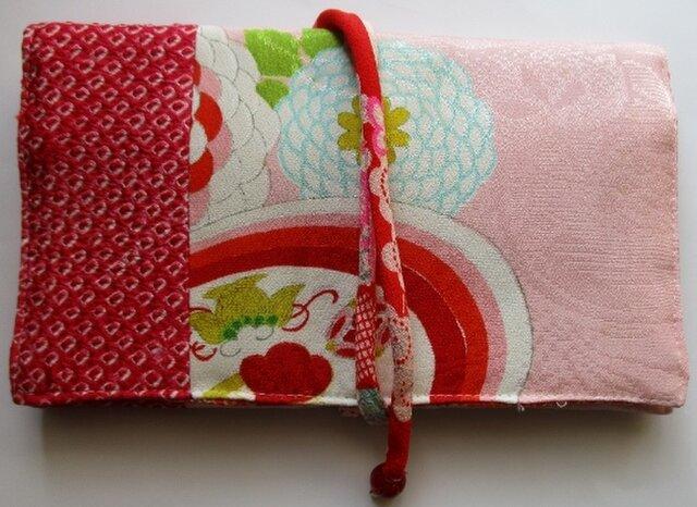 送料無料 絞りと花柄の着物で作った和風財布・ポーチ 4044の画像1枚目