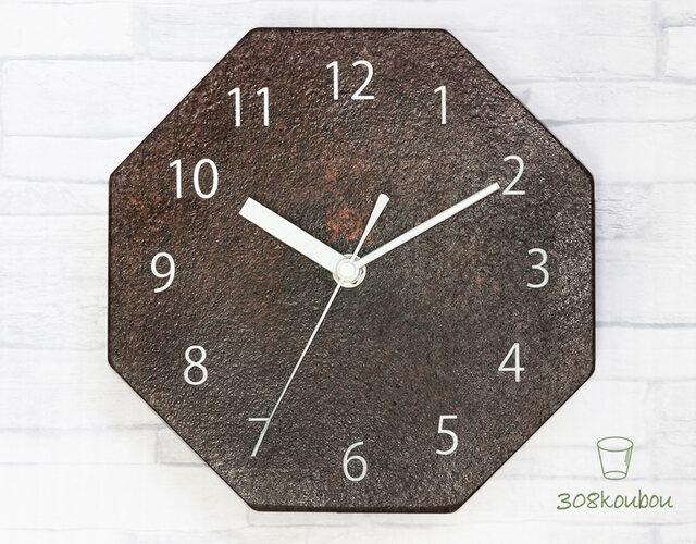 八角掛け時計 マルーンの画像1枚目