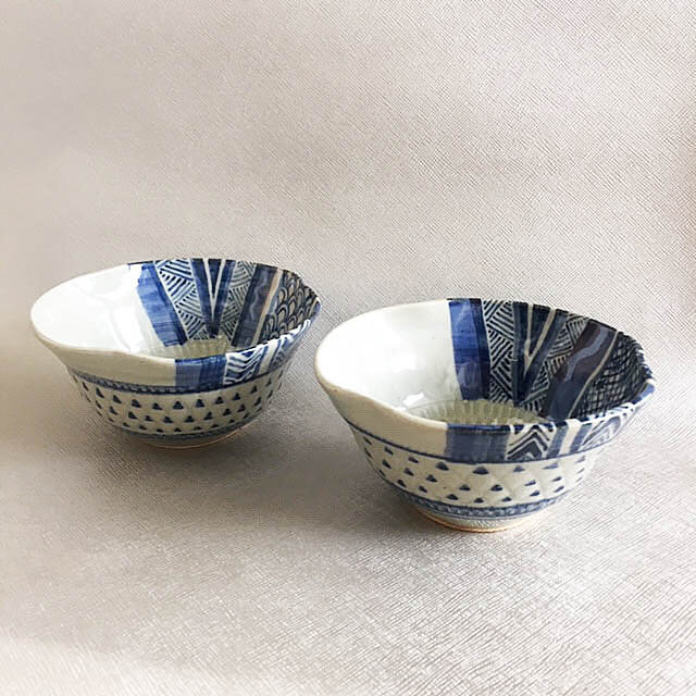 青模様鉢2個セットの画像1枚目