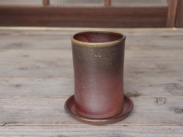 備前焼 植木鉢【受皿付き】 u-039の画像1枚目