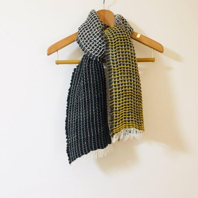 手織りWaffle woolsilk - Yellow-の画像1枚目