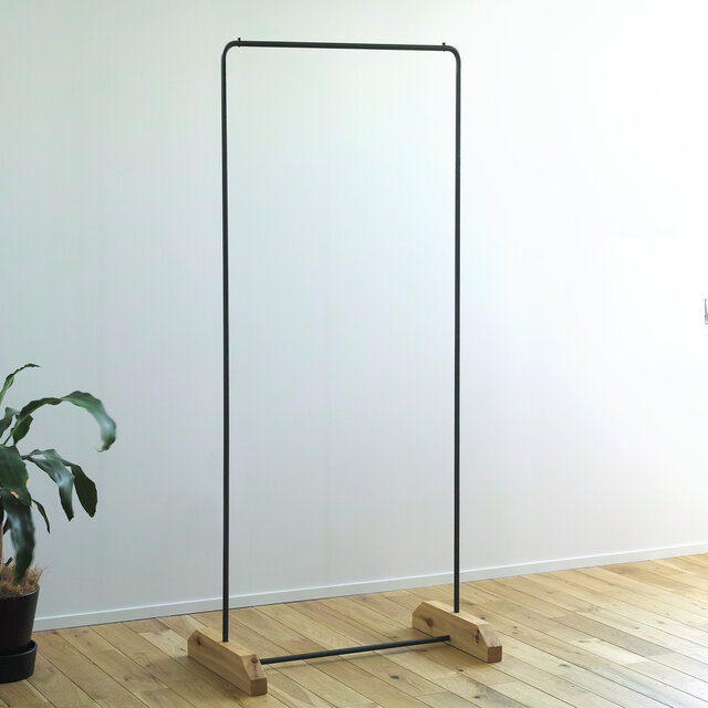 黒皮鉄のハンガーラック アイアン 幅 30〜80 cm オーダーメイド可の画像1枚目