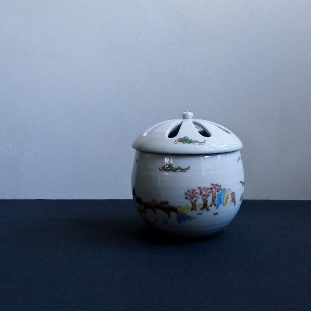 色絵四季山水香炉(香立付)の画像1枚目