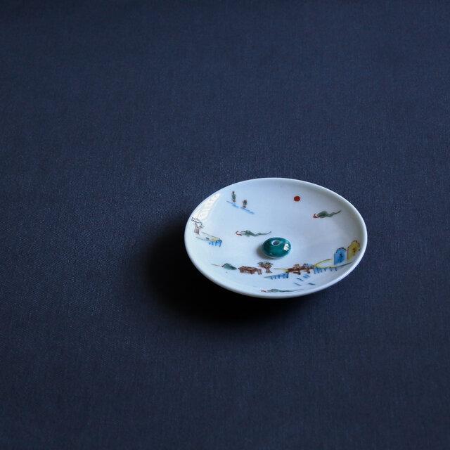 色絵山水 香皿(香立付)の画像1枚目