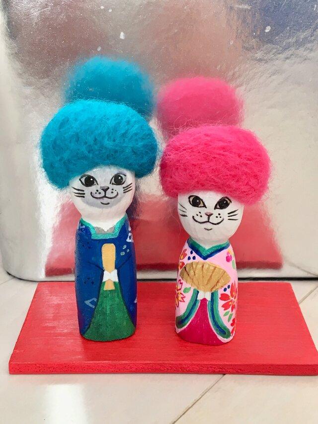 猫雛人形 アフロの画像1枚目