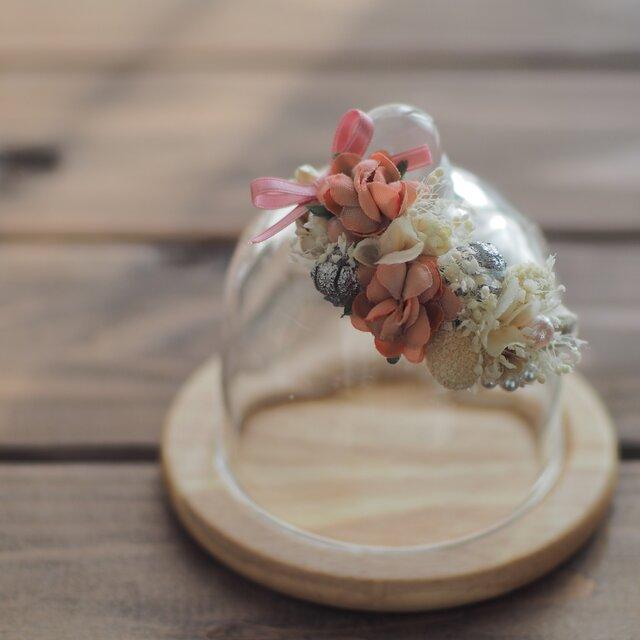 Sさま専用オーダーページ【トロッケンクランツ】プチガーランド付きガラスドーム コーラルピンクの画像1枚目