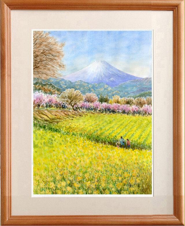 水彩画原画 富士山と春景色の画像1枚目