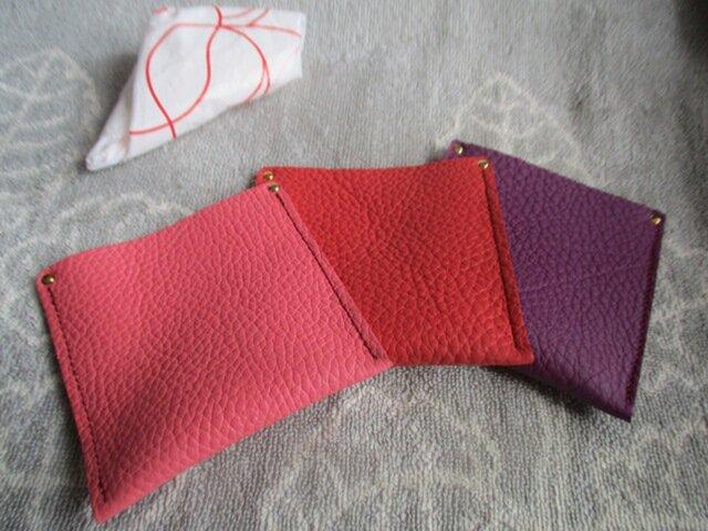 エコで注目【色選べるピンク系トリヨン】革のミニケース(レジ袋入れ)の画像1枚目