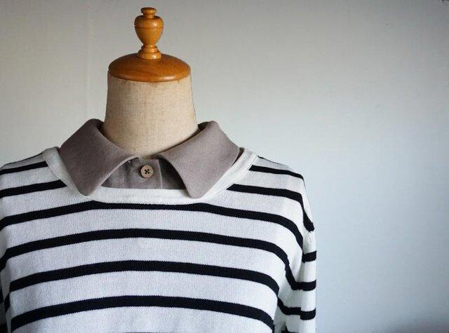 モカベージュリネンシャツ型スタンダード襟の付け襟の画像1枚目